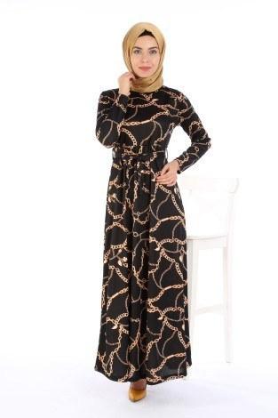 Desenli Beli Kuşaklı Elbise 5531-04 - Thumbnail