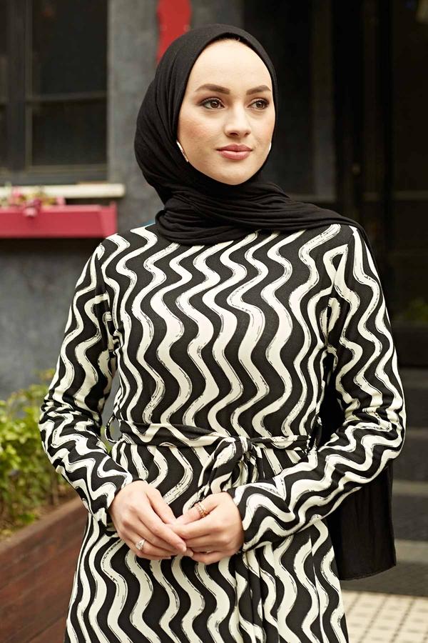 Desenli Çan Kesim Elbise 560VTN-8019-1