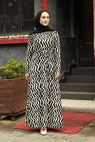 Desenli Çan Kesim Elbise 560VTN-8019-1 - Thumbnail