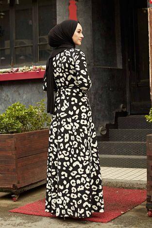 Desenli Çan Kesim Elbise 560VTN-8019-3 - Thumbnail