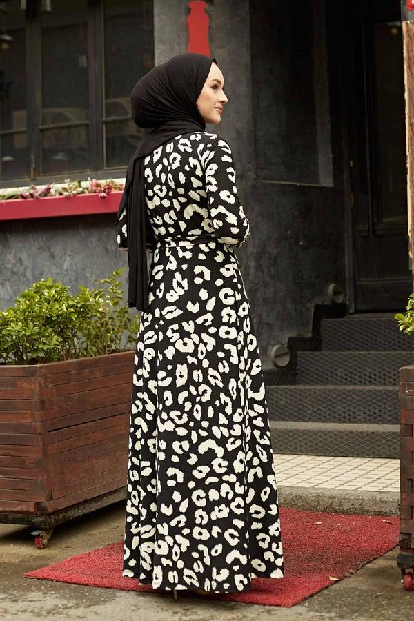 Desenli Çan Kesim Elbise 560VTN-8019-3