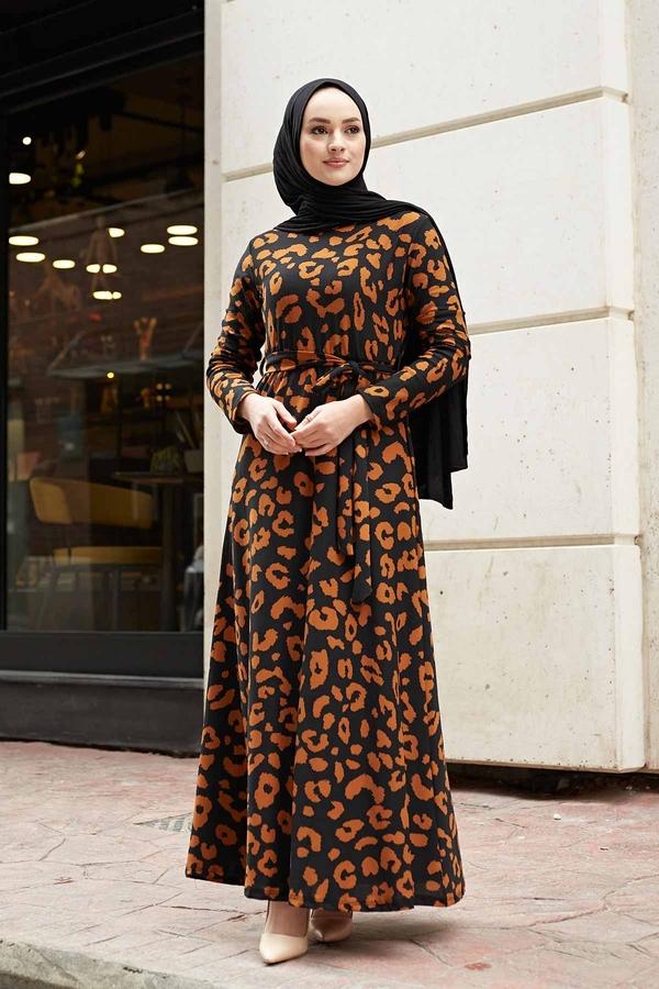 Desenli Çan Kesim Elbise 560VTN-8019-4