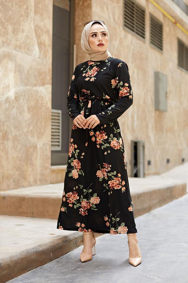 Desenli Çan Kesim Elbise 560VTN-8019-7