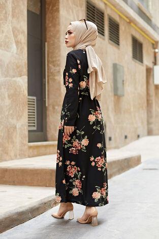 Desenli Çan Kesim Elbise 560VTN-8019-7 - Thumbnail