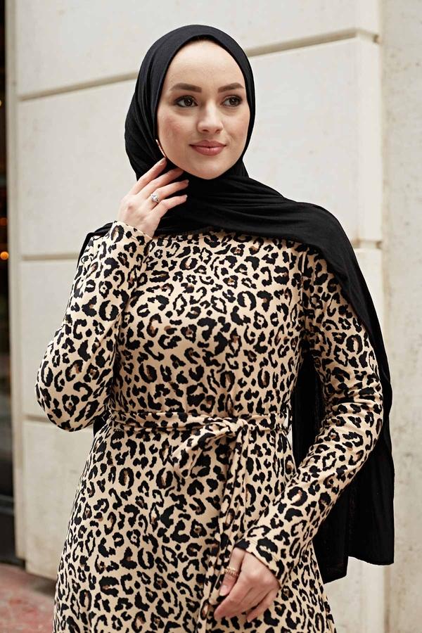 Leopar Desenli Elbise 190E14328-7 Vizon