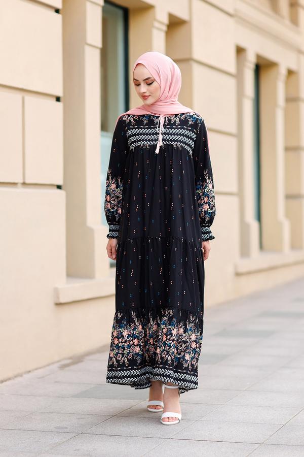 Desenli Elbise 420BD-2175 Siyah