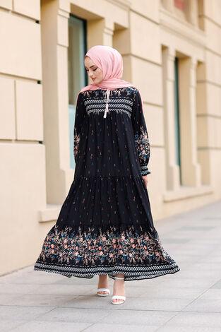 Desenli Elbise 420BD-2175 Siyah - Thumbnail
