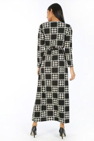 Desenli Elbise 8508-306 - Thumbnail