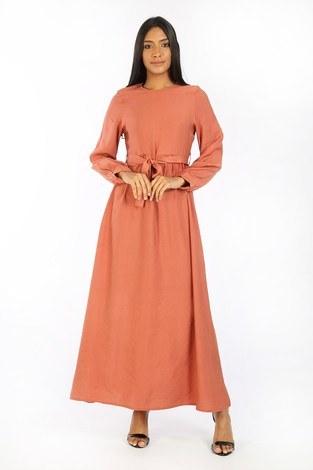 Kuşaklı Elbise 8812-25 somon - Thumbnail