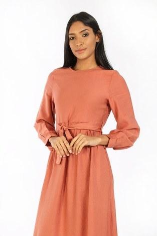 - Kuşaklı Elbise 8812-25 somon (1)