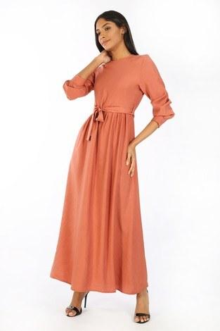 - Kuşaklı Elbise 8812-25 somon