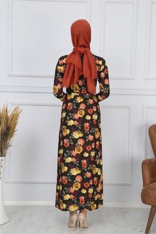 Desenli Elbise 8508-319 - Thumbnail