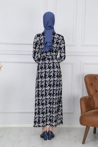 Desenli Elbise 8508-320 - Thumbnail