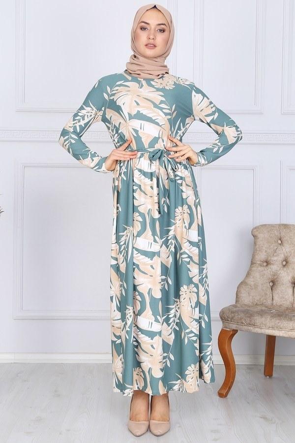 Desenli Elbise 8508-321