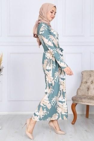 Desenli Elbise 8508-321 - Thumbnail