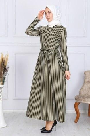 Desenli Elbise 8508-324 - Thumbnail