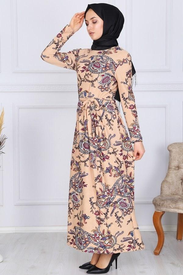 Desenli Elbise 8508-326