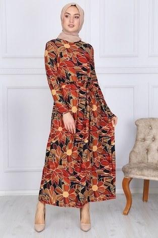 - Desenli Elbise 8508-327