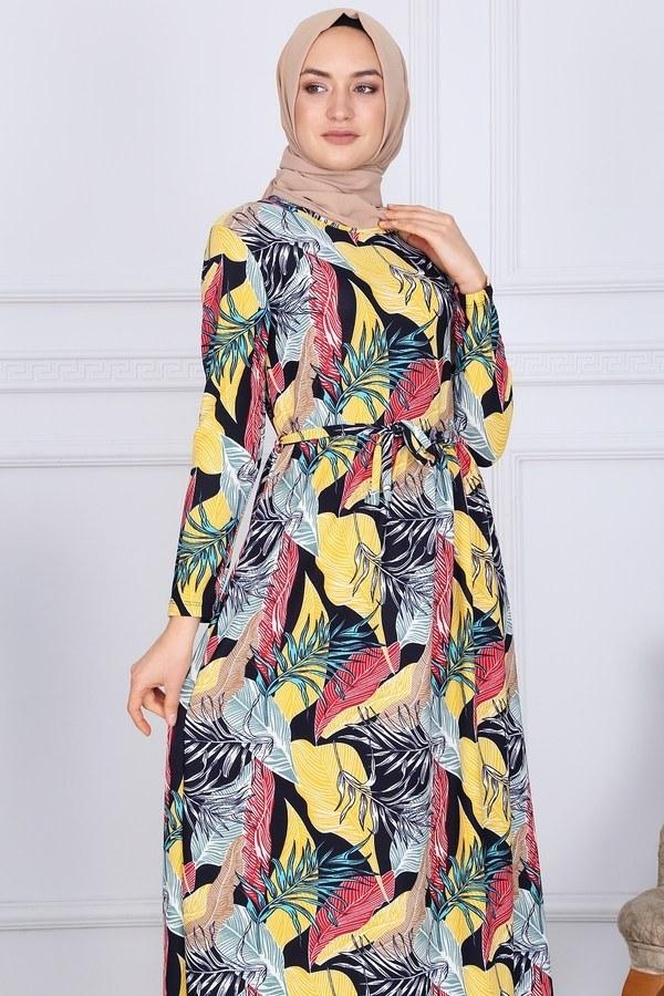 Desenli Elbise 8508-328