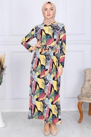 - Desenli Elbise 8508-328