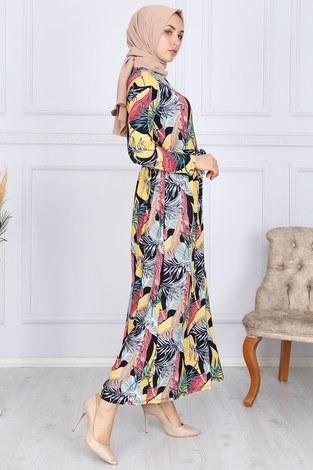 Desenli Elbise 8508-328 - Thumbnail