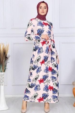 - Desenli Elbise 8508-330