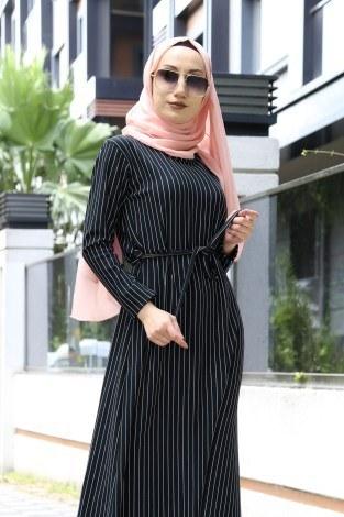 - Desenli Elbise 8508-38 Siyah (1)
