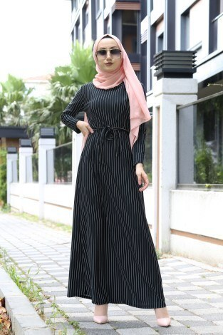- Desenli Elbise 8508-38 Siyah