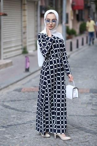 - Desenli Elbise 8508-61 Lacivert
