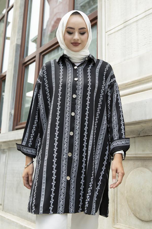 Desenli Gömlek 100MD-10206 Siyah