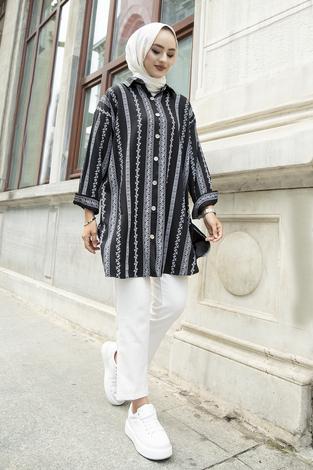 Desenli Gömlek 100MD-10206 Siyah - Thumbnail