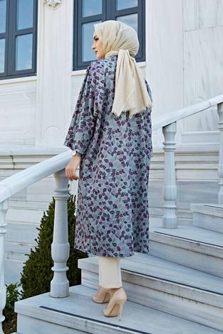 Desenli Kimono 100MD-10323 Mor - Thumbnail