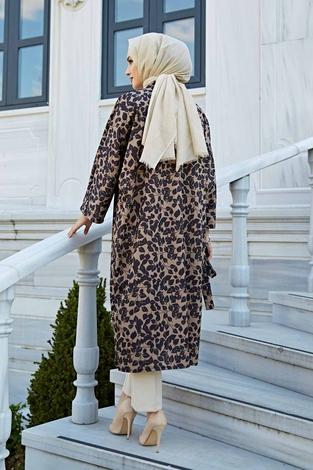 Desenli Kimono 100MD-10323 Siyah - Thumbnail