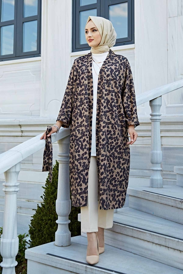 Desenli Kimono 100MD-10323 Siyah