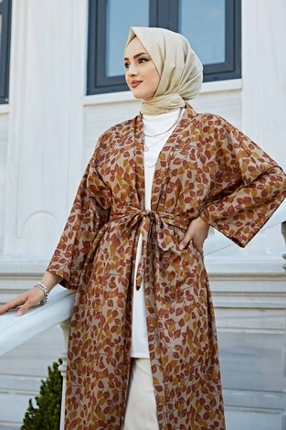 Desenli Kimono 100MD-10323 Taba - Thumbnail