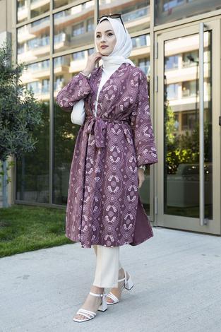 Desenli Kimono 100MD-7258 Gülkurusu - Thumbnail