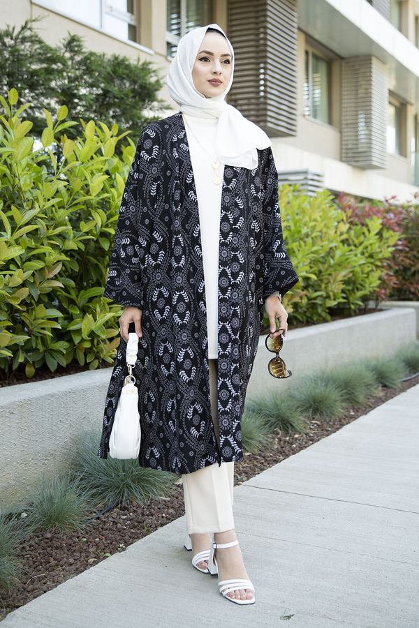 Desenli Kimono 100MD-7258 Siyah