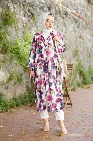 - Desenli Kimono 8889-6