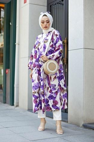 - Desenli Kimono 8889-4