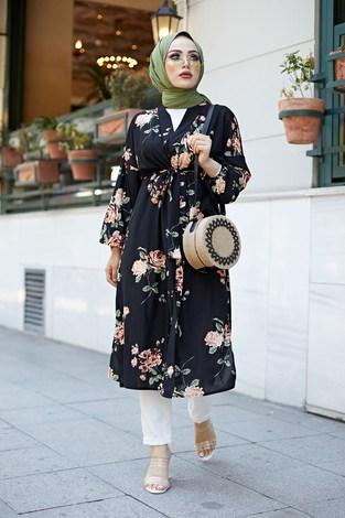 - Desenli Kimono 8889-1