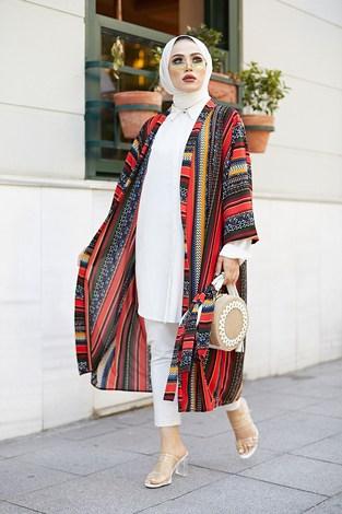 - Desenli Kimono 9865-1