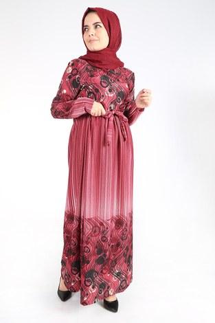 Desenli Kuşaklı Elbise 14349-11 - Thumbnail