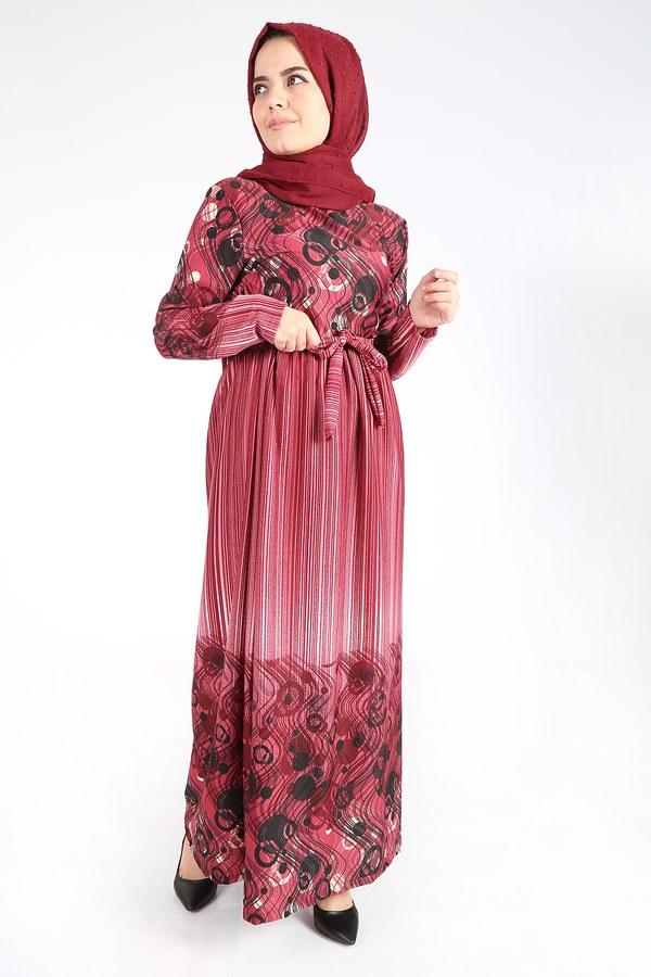 Desenli Kuşaklı Elbise 14349-11