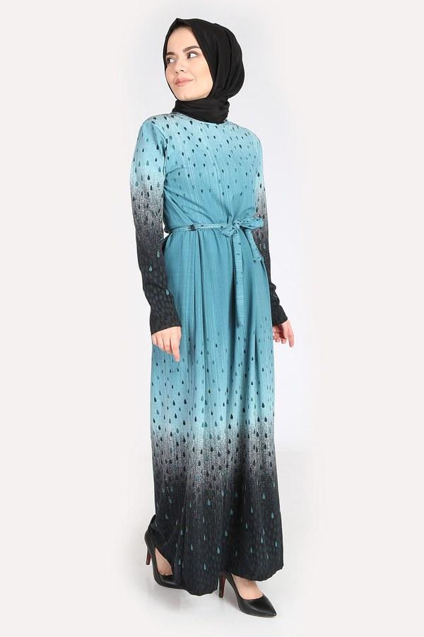 Desenli Kuşaklı Elbise 14349-14