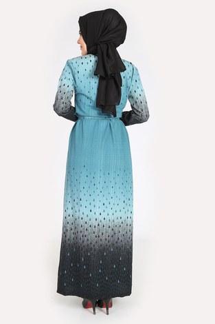 Desenli Kuşaklı Elbise 14349-14 - Thumbnail