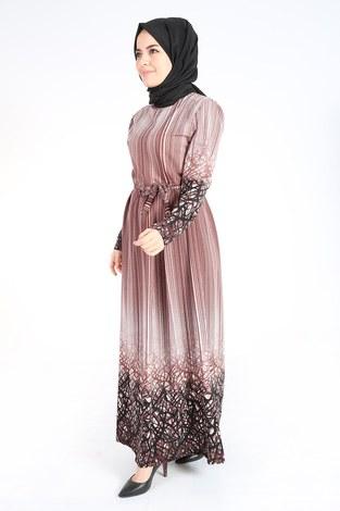 Desenli Kuşaklı Elbise 14349-3 - Thumbnail