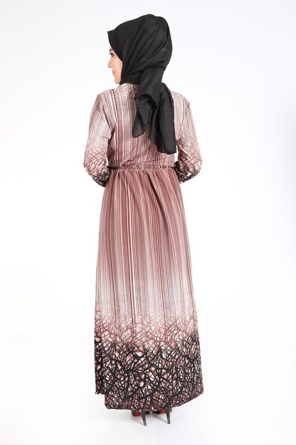 Desenli Kuşaklı Elbise 14349-3