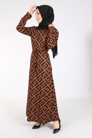 - Desenli Kuşaklı Elbise 8508-405-2 Kiremit