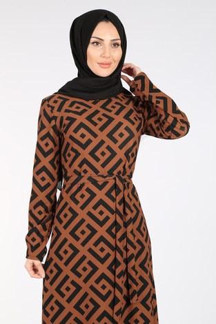 - Desenli Kuşaklı Elbise 8508-405-2 Kiremit (1)