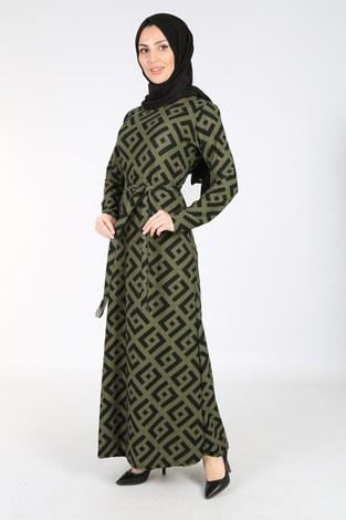 - Desenli Kuşaklı Elbise 8508-405-3 Haki